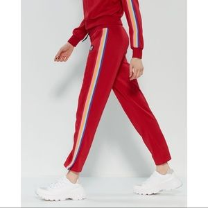 Juicy Couture Red Track Pant Rainbow Stripe L